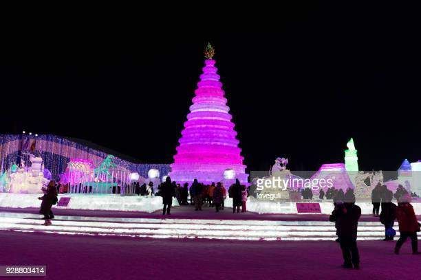 harbin ice and snow world - harbin winter stock pictures, royalty-free photos & images