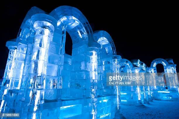 harbin ice festival at night, haerbin, heilongjiang, china - harbin ice festival stock pictures, royalty-free photos & images