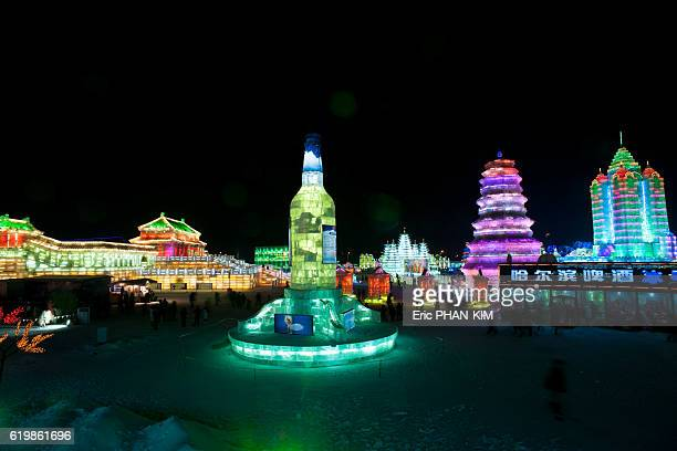 harbin ice festival at night, haerbin, heilongjiang, china - chilly bin stock photos and pictures