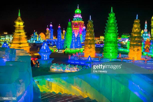 harbin ice festival, china, 2012 - harbin ice festival stock pictures, royalty-free photos & images