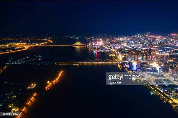 harbin night cityscape - liyao xie fotografías e imágenes de stock