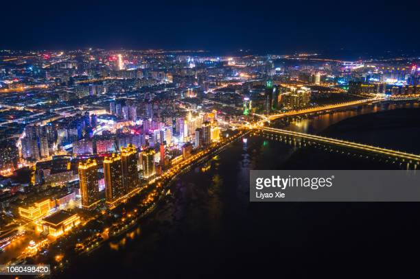 harbin night cityscape - liyao xie stock pictures, royalty-free photos & images
