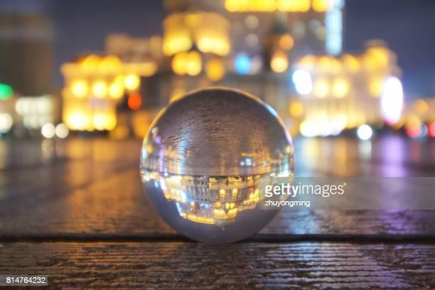 harbin saint sofia cathedral through crystal ball - crystal cathedral stockfoto's en -beelden
