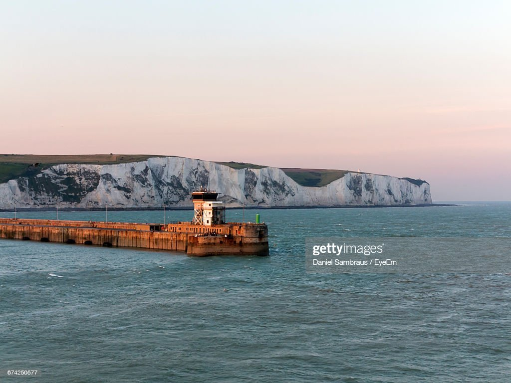 Harbor Against White Cliffs : Stock Photo