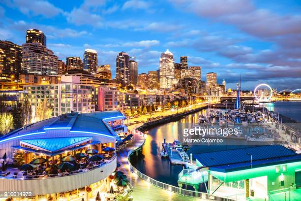 Harbor and city at dusk, Seattle, USA