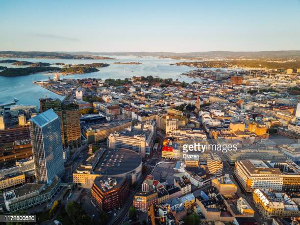 harbor and financial district view of oslo, norway - oslo stock pictures, royalty-free photos & images