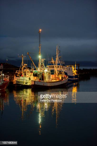 harbor and fishing boat at bolungarvík in the westfjords of iceland - moored stock pictures, royalty-free photos & images