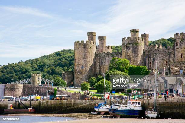 harbor and old castle in conwy, north wales, wales, uk - wales stock pictures, royalty-free photos & images