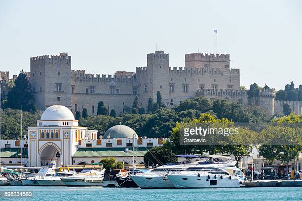 harbor area in old town of rhodes, greece - rhodes dodecanese islands stock photos and pictures
