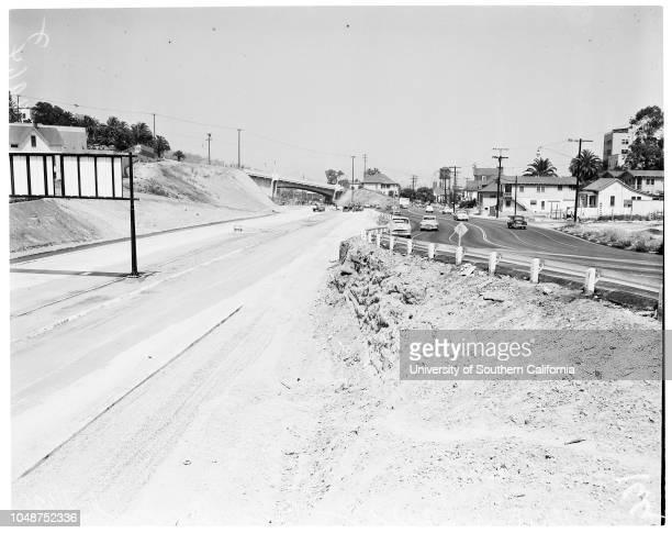 Harbor -- Arroyo Seco Parkway, 22 July 1953. Looking south from College Street Bridge, etc;Junctions Santa Ana --Ramona Freeway coming under Sunset...