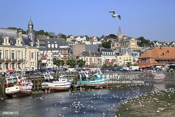 harbor at low tide. trouville-sur-mer. - trouville sur mer stock pictures, royalty-free photos & images
