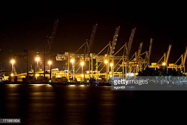 harbor at night - koper stock photos and pictures
