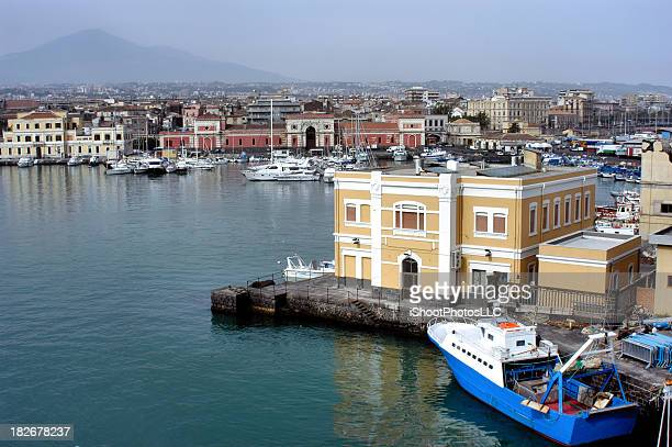 harbor catania sicily - catania stock photos and pictures