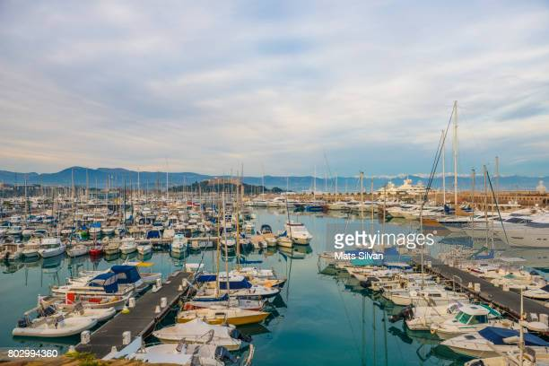 harbor in antibes - antibes stock photos and pictures