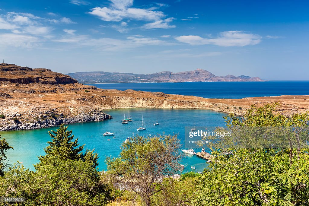 Harbor in Lindos, Rhodes, Greece : Stock Photo