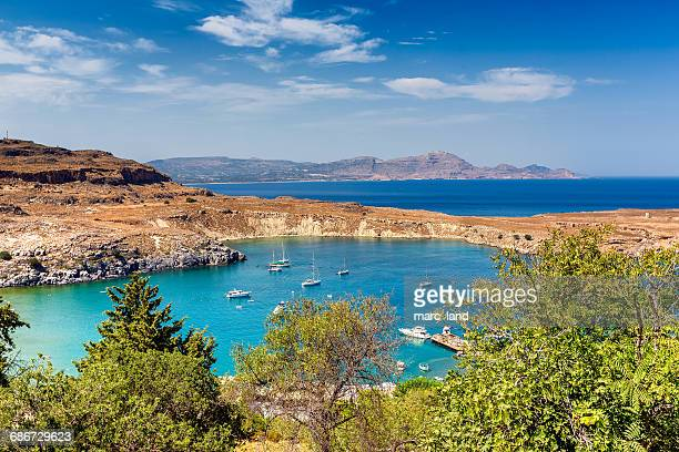 harbor in lindos, rhodes, greece - lindos stock photos and pictures