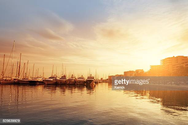 harbor in palma de mallorca in afternoon light - palma majorca stock photos and pictures