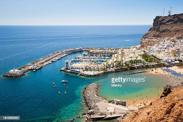 harbor in puerto de mogan on grand canary island - grand canary stock pictures, royalty-free photos & images