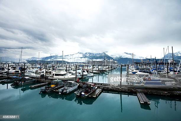 Harbor in Seward Alaska,USA ,big cruising ship on background