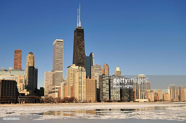 harbor in winter - hancock building chicago stock photos and pictures