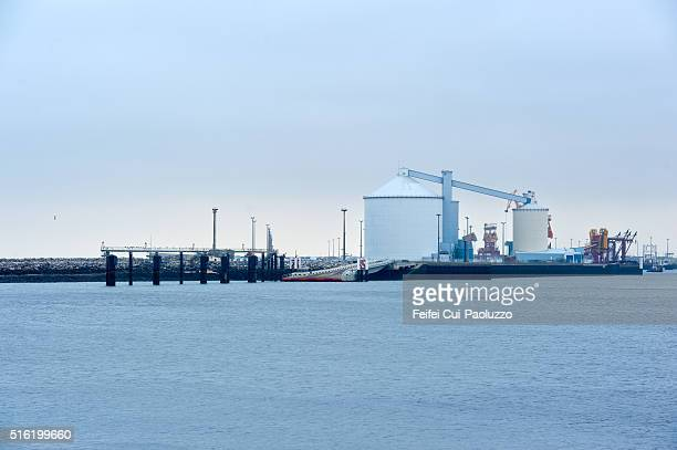 Harbor of Calais in the department of Pas-de-Calais in Nord-Pas-de-Calais-Picardie region in Northern part of France