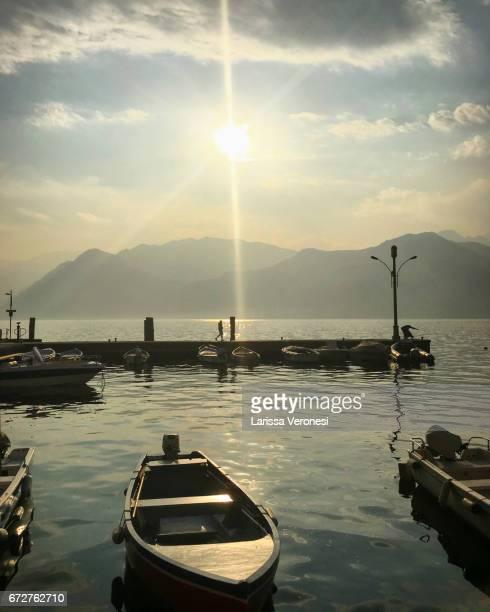Harbor of Malcesine at sunset, Lake Garda