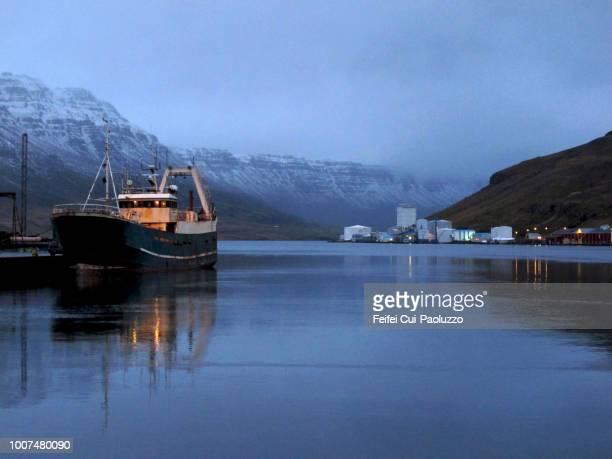 Harbor of Seydisfjordur southeast Iceland