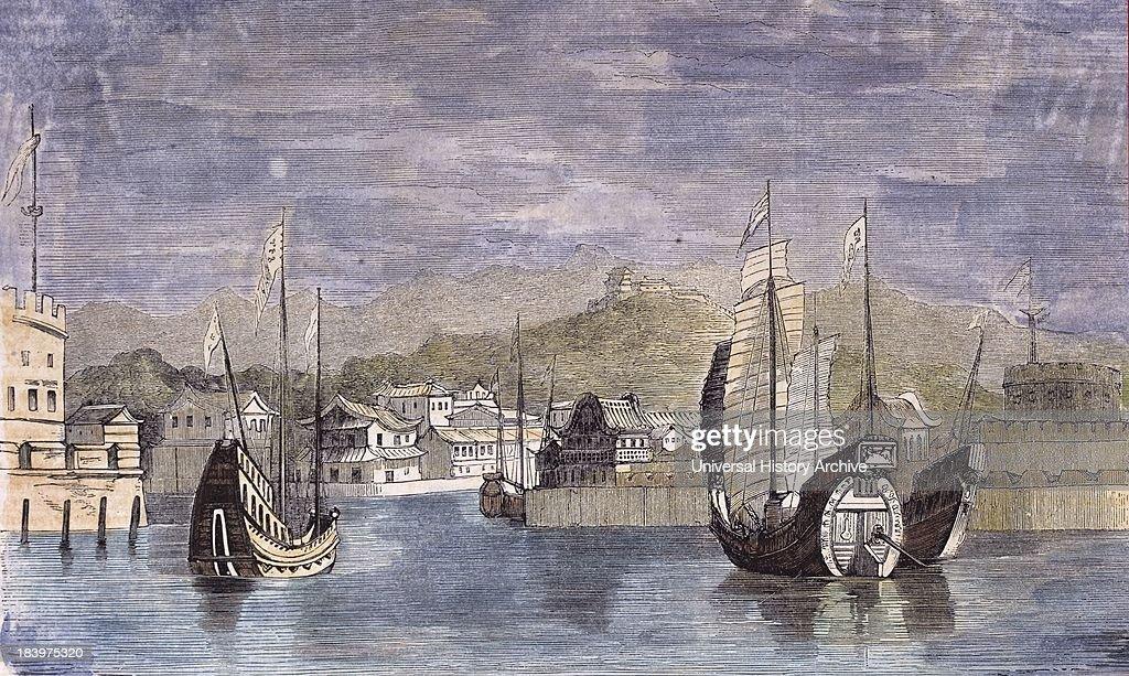 Harbor Of Shang-Hai, China. Engraving 1859. : News Photo
