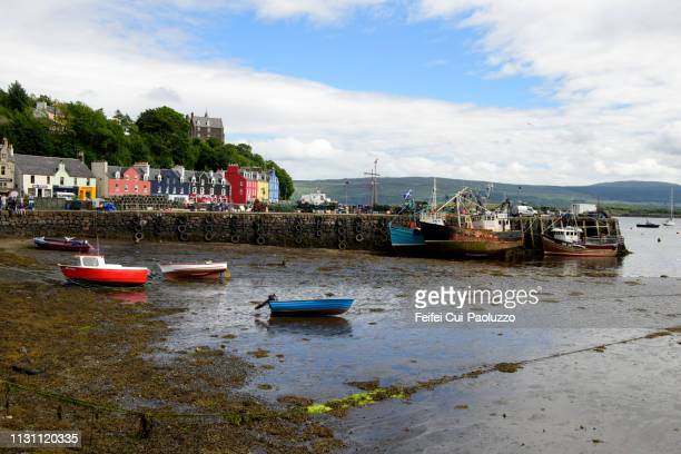 harbor of tobermory, isle of mull, scotland - low tide stock pictures, royalty-free photos & images