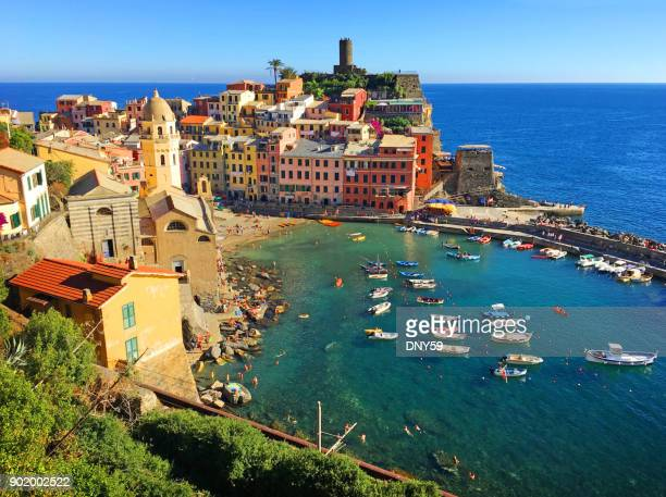 harbor of vernazza, italy - liguria stock photos and pictures