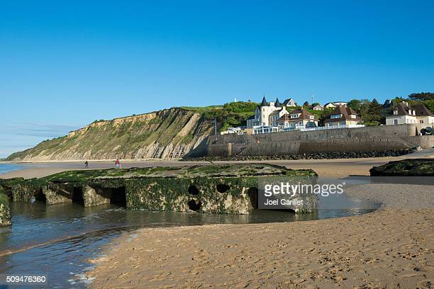 WWII harbor remains in Arromanches, France