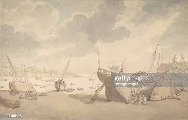 Harbor scene with the tide out, and beached boats, 1775-1827. Artist Thomas Rowlandson.