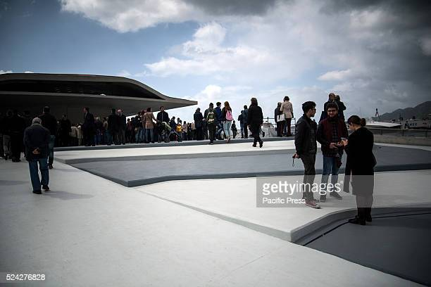 TERMINAL SALERNO CAMPANIA ITALY Harbor Station Zaha Hadid's panoramic outdoor in the background the town of Salerno Inaugurated in the port of...