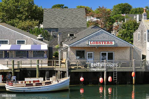 Harbor View, Lobster Restaraunt and Moored Boat, Nantucket Island, Massachusetts.