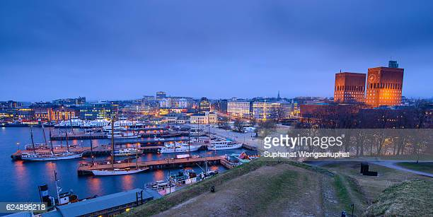 Harbor with boats and wooden yacht in Oslo, Norway