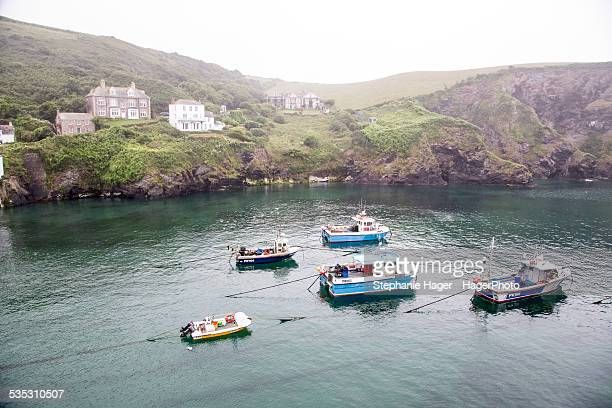 harbor with boats - port isaac stock pictures, royalty-free photos & images