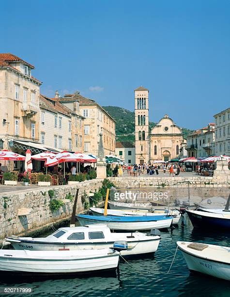 Harbour and cathedral Hvar Croatia Hvar is a Croatian island in the Adriatic Sea off the Dalmatian coast The island's Renaissance cathedral with its...