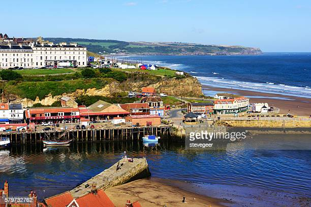 harbour and coastline, mouth of river esk, whitby - whitby north yorkshire england stock pictures, royalty-free photos & images