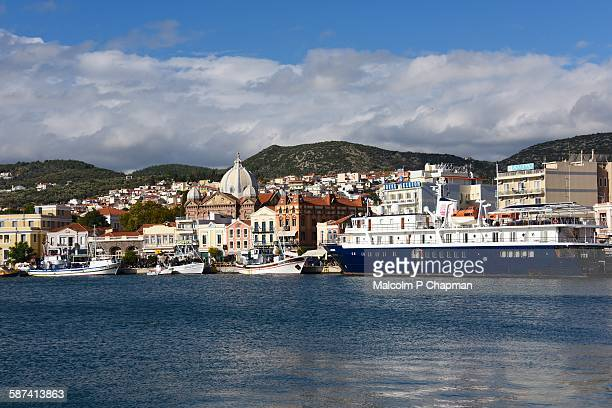 harbour and town, mytilene, lesvos, greece - lesbos stock pictures, royalty-free photos & images