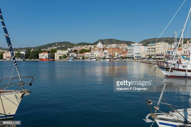 harbour and town, mytilene, lesvos, greece - mytilene stock photos and pictures