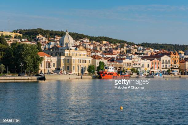 harbour and town, mytilene, lesvos, greece - lesbos stock photos and pictures