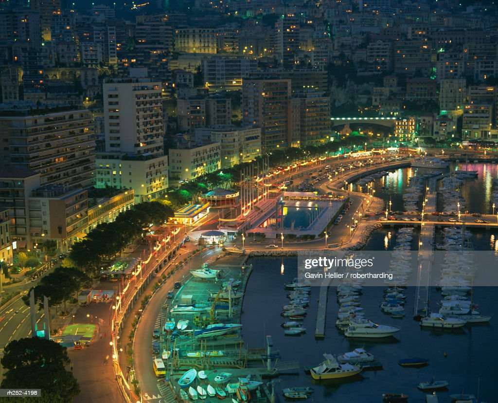 Harbour and yachts and twilight, Monte Carlo, Monaco, Mediterranean coast, Europe : Foto de stock