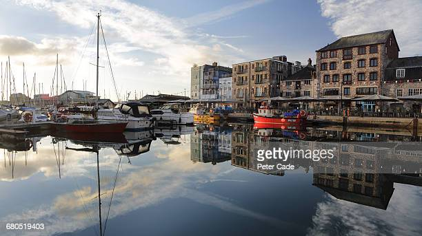 harbour at plymouth barbican - plymouth stock photos and pictures