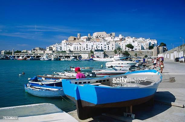 harbour boats with citadel in background, castellon de la plana, valencia, spain, europe - castellon de la plana stock photos and pictures