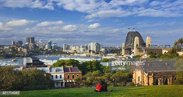 Harbour Bridge and North Sydney skyline from Observatory Hill