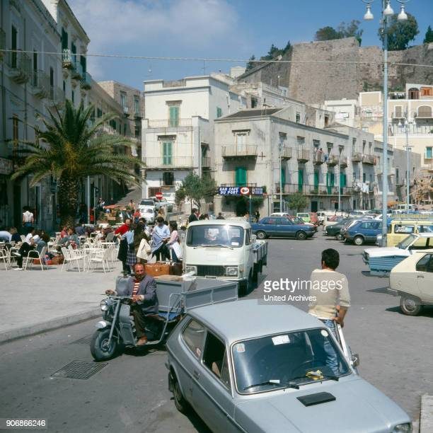 A harbour cafe in Lipari Sicily Italy 1970s