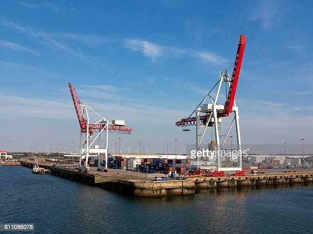 Harbour cranes and containers Dunkerque France