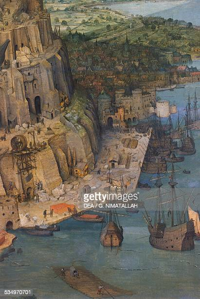 Harbour detail from The Tower of Babel by Pieter Brueghel the Elder oil on panel 114x155 cm Belgium 16th century Vienna Kunsthistorisches Museum