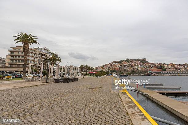 harbour in downtown kavala cityview at greece