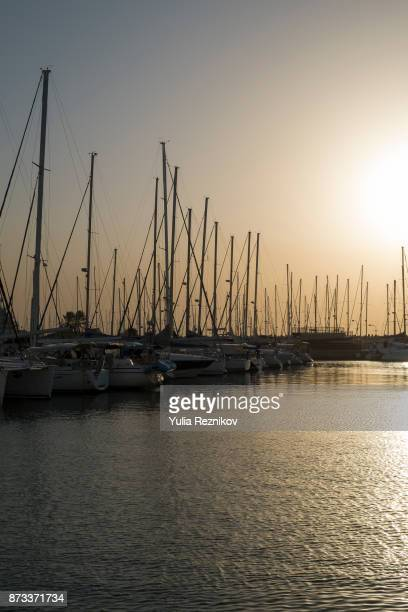 Harbour in Herzliya, Israel with luxury sailboats and yachts.